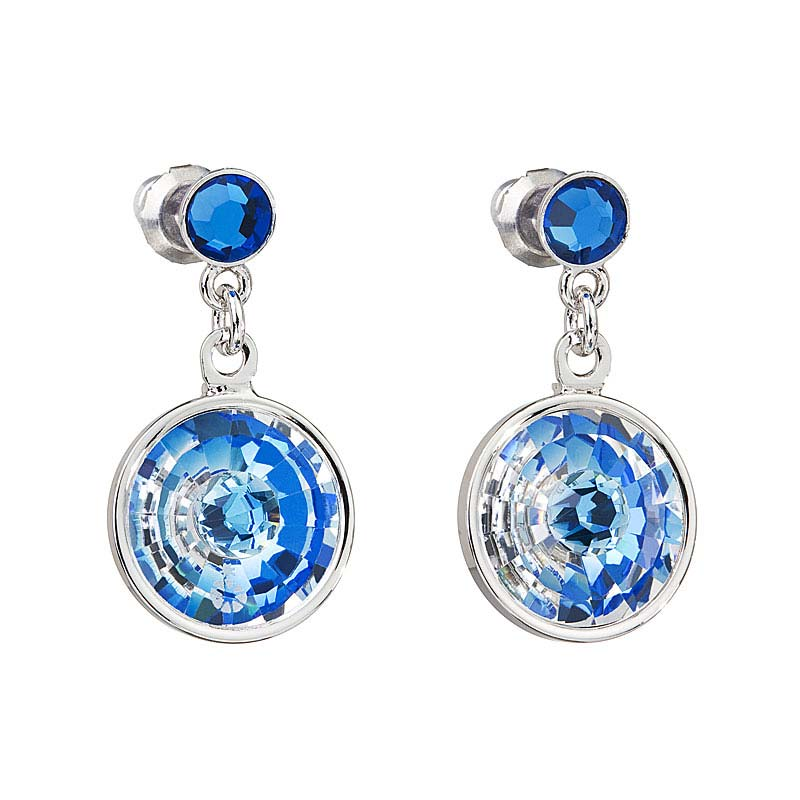 Preciosa Crystal Capri Blue Hanging Earrings - Livia