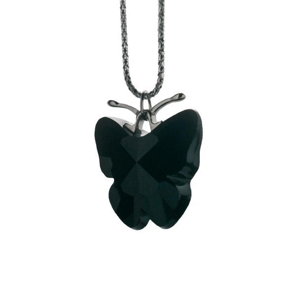 Preciosa Crystal Jet Black King Butterfly Pendant