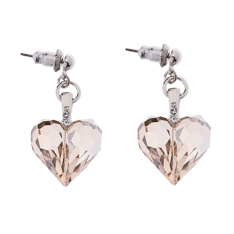 Preciosa Honey Crystal Heart Earrings - Amour