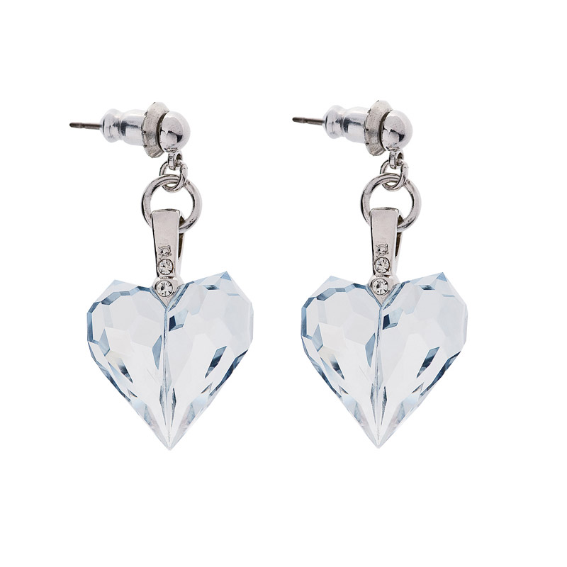 Preciosa Lagoon Crystal Drop  Heart Earrings, Amour