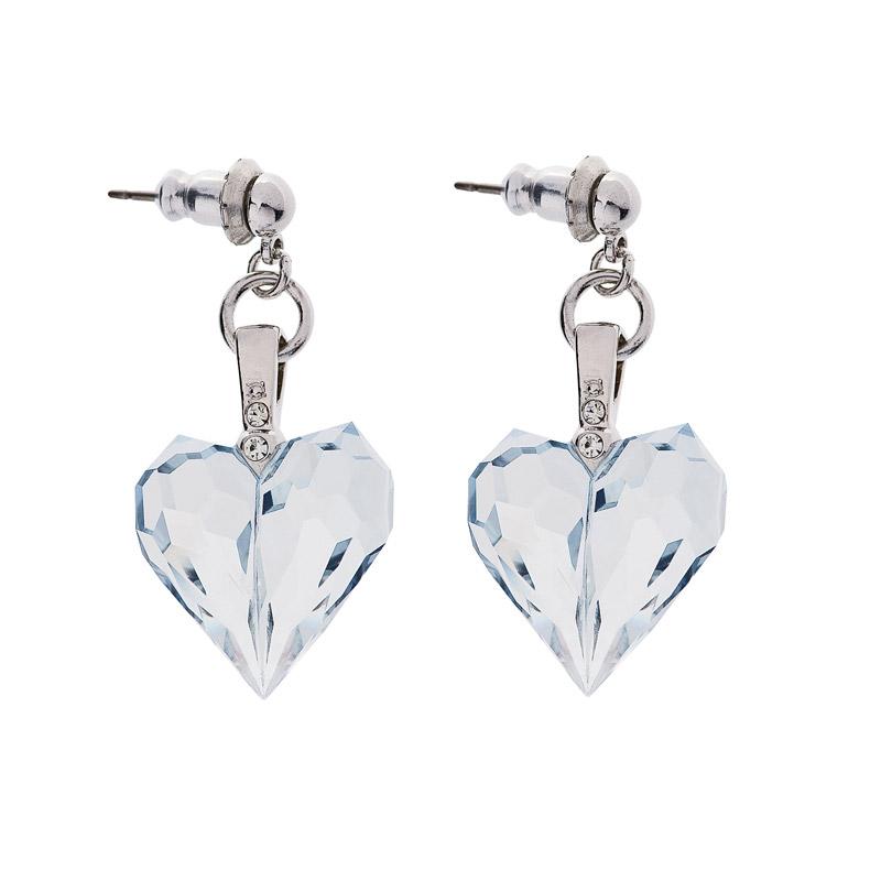 Preciosa Lagoon Crystal Drop  Heart Earrings, Amour