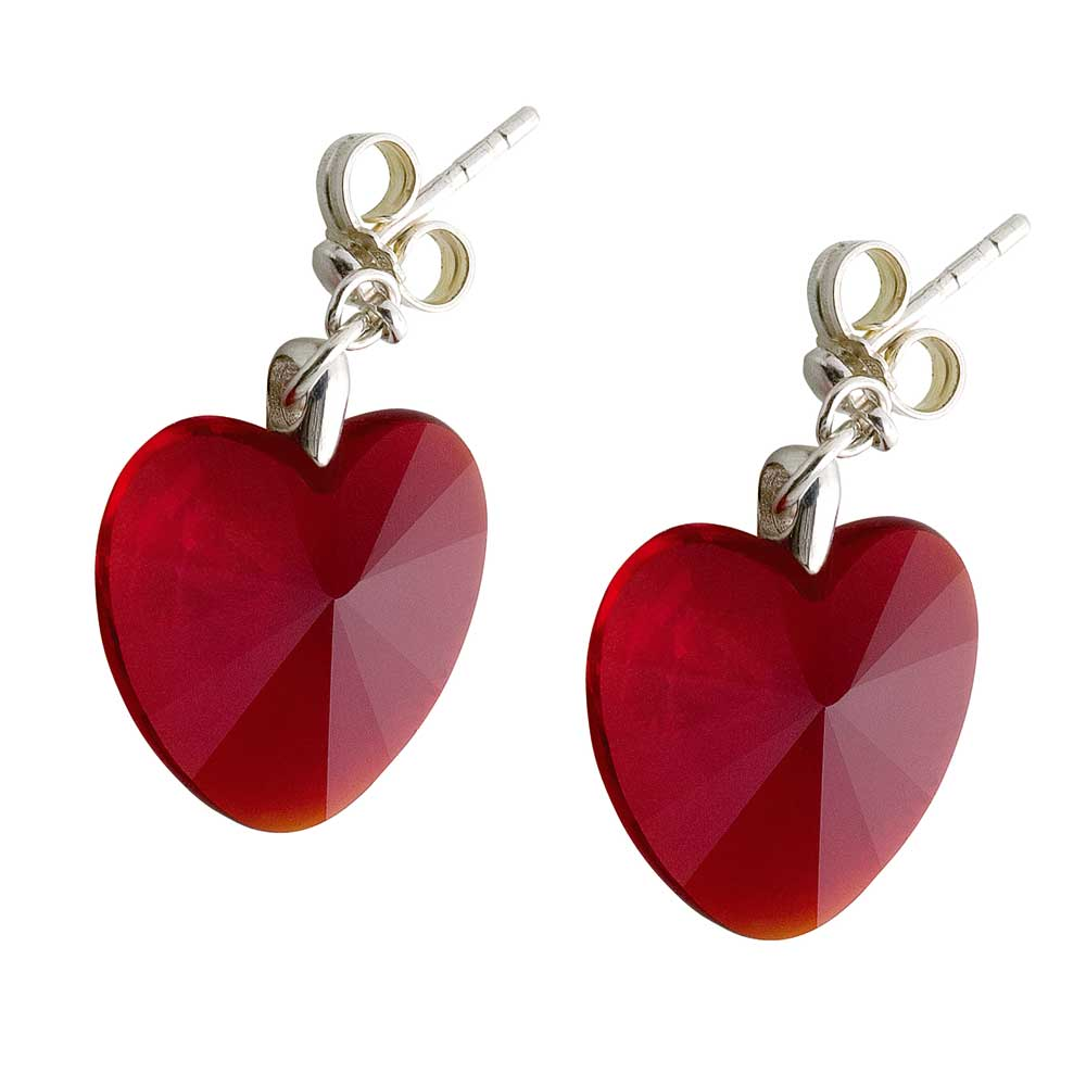 Preciosa Crystal Red Siam Heart Earrings - Valentine
