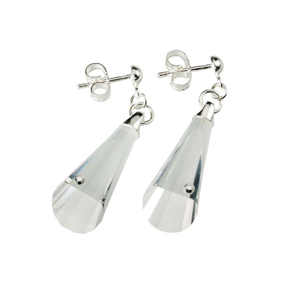 Preciosa Clear Crystal Hanging Earrings - Evelyn