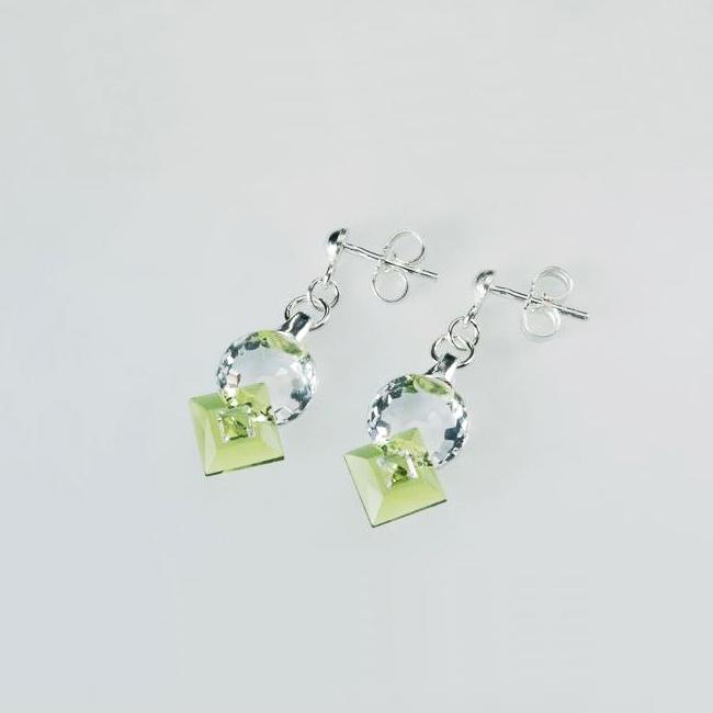Preciosa Crystal Olivine Earrings - Jenny