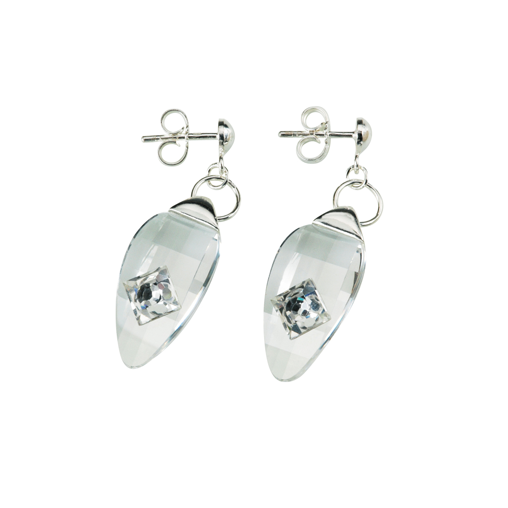 Preciosa Crystal Oval Hanging Earrings - Linda