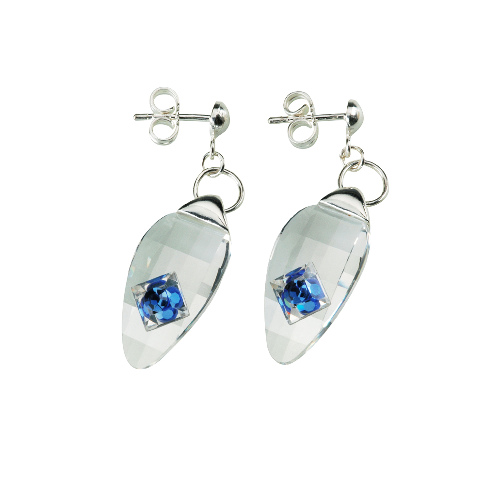 Preciosa Crystal Sapphire Hanging Oval Earrings - Linda