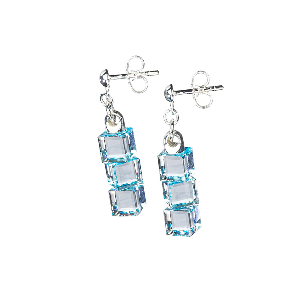 Preciosa Crystal Aqua Cube Earrings - Lilien