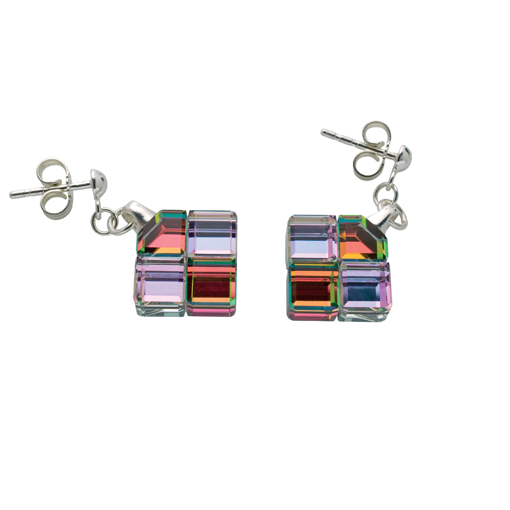 Preciosa Crystal Glittering Cubes Earrings - Vitrail Light
