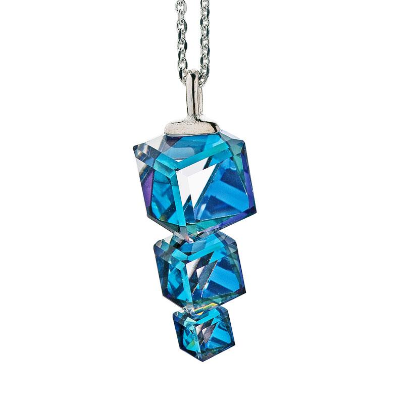 Preciosa Bermuda Blue Crystal Pendant Necklace, Calypso