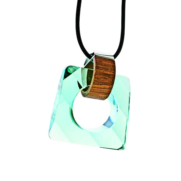 Preciosa Magic Square Crystal Pendant Necklace, Aqua Honey