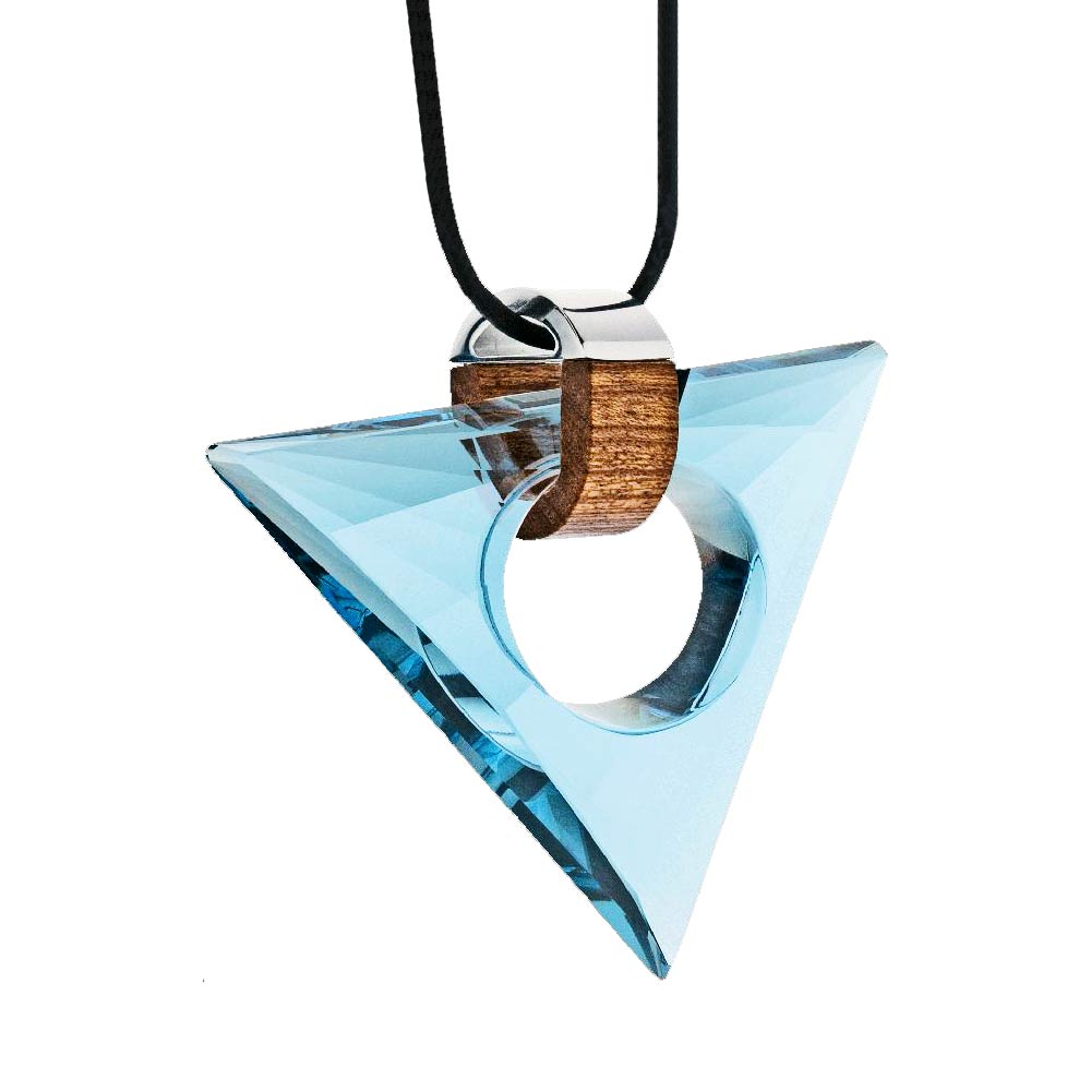 Preciosa Magic Triangle Crystal Pendant Necklace, Aqua