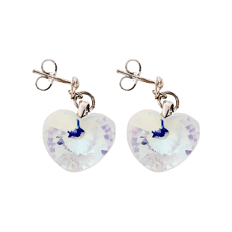 Preciosa Crystal Aurora Borealis Heart Earrings
