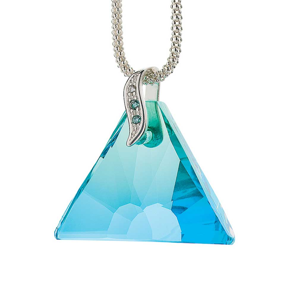 Preciosa Crystal Blue-Green Charming Triangle Pendant