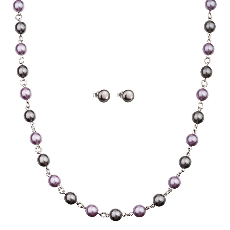 Preciosa Grey/Purple Pearl Necklace and Earring Set