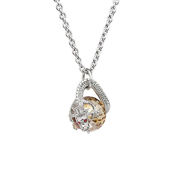 Preciosa Silver Dragon Surrounds Topaz Crystal Bead Pendant Necklace