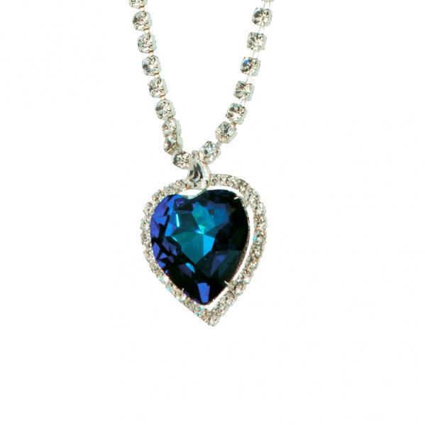 Preciosa Crystal Bermuda Blue Heart Pendant Necklace