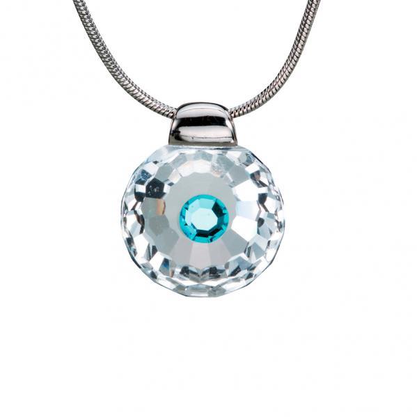 Preciosa Crystal Aqua Solitaire Pendant - Betty