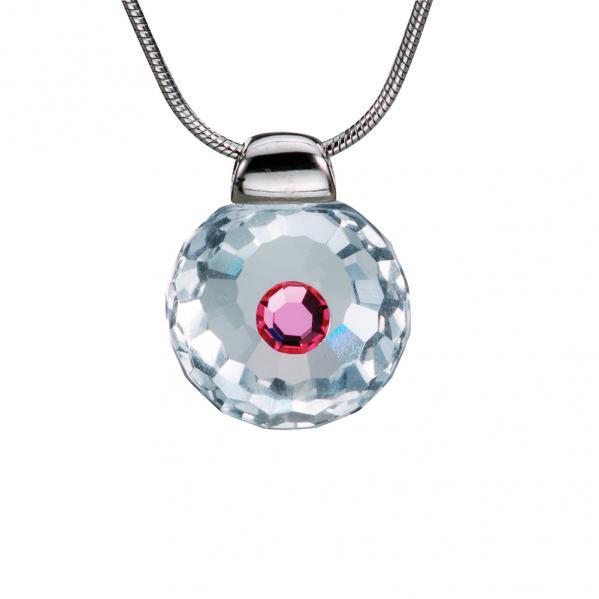Preciosa Crystal Rosa Solitaire Pendant - Betty