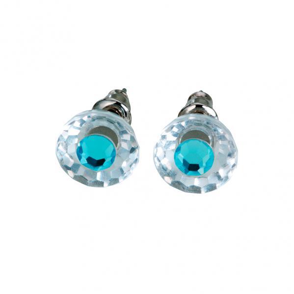 Preciosa Crystal Aqua Stud Earrings - Bettina