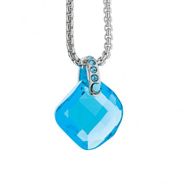 Preciosa Crystal Aqua Cube Pendant - Danielle