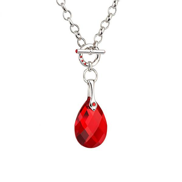Preciosa Crystal Red Drop Choker Chain Pendant