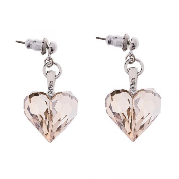 Preciosa Honey Crystal Heart Earrings - Amour