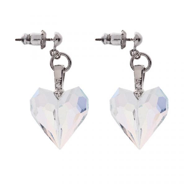 Preciosa Aurora Borealis Crystal Drop Heart Earrings, Amour