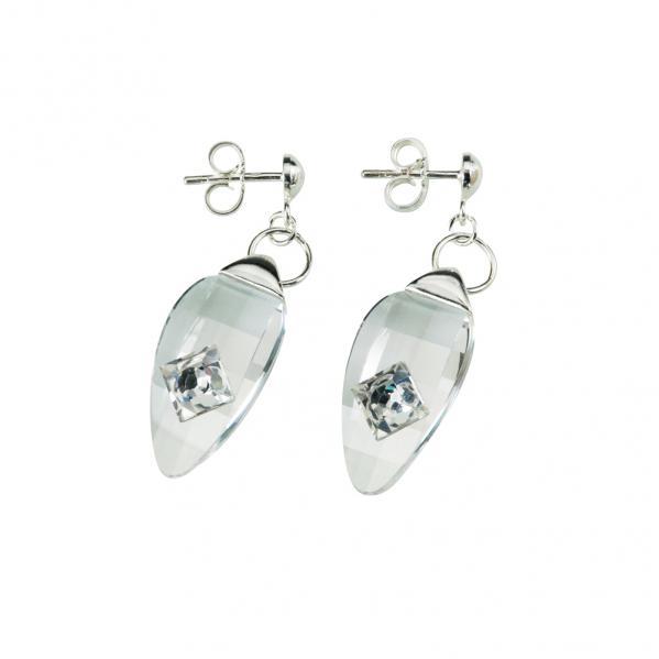 Preciosa Crystal Oval Hanging Earrings - Linda