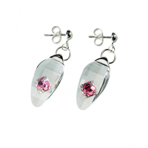 Preciosa Crystal Rosa Hanging Oval Earrings - Linda