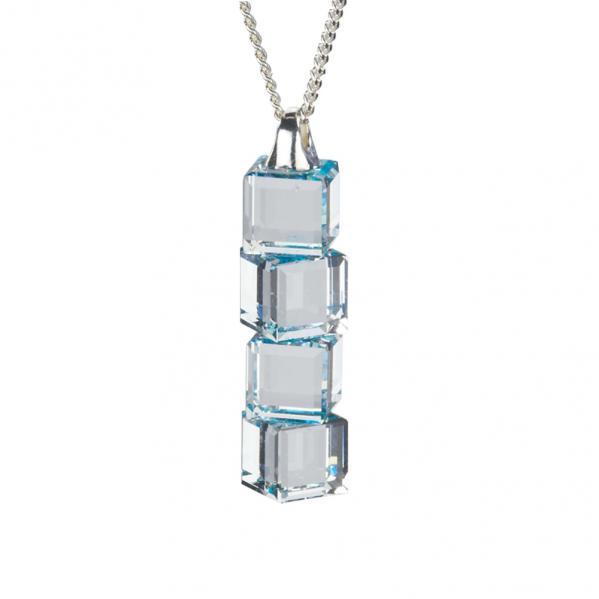 Preciosa Crystal Aqua Cube Pendant - Lilien
