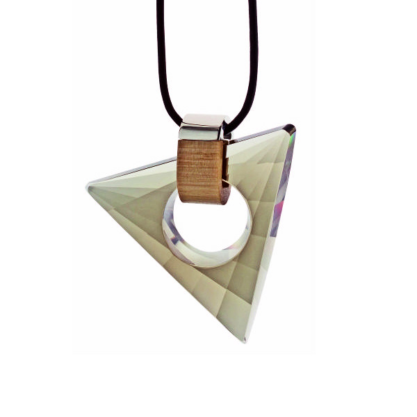 Preciosa Magic Triangle Crystal Pendant Necklace, Black Diamond