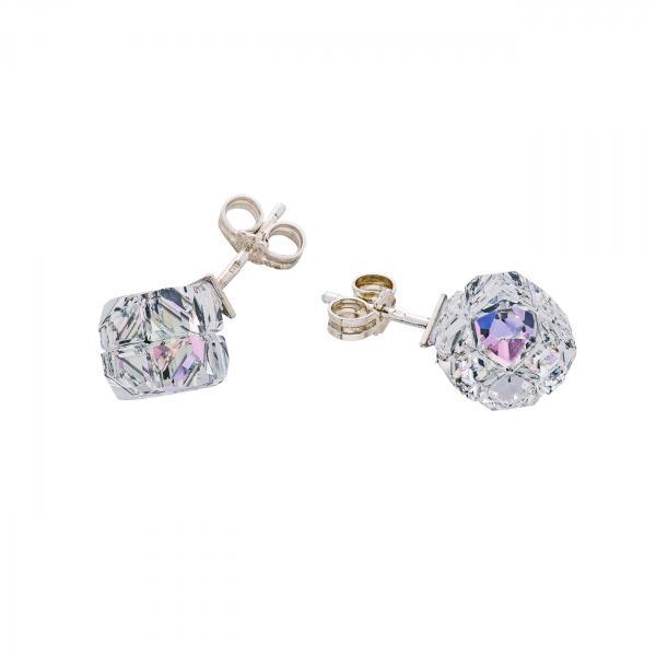 Preciosa Crystal Vitrail Light Cube Earrings - Arctic Dream