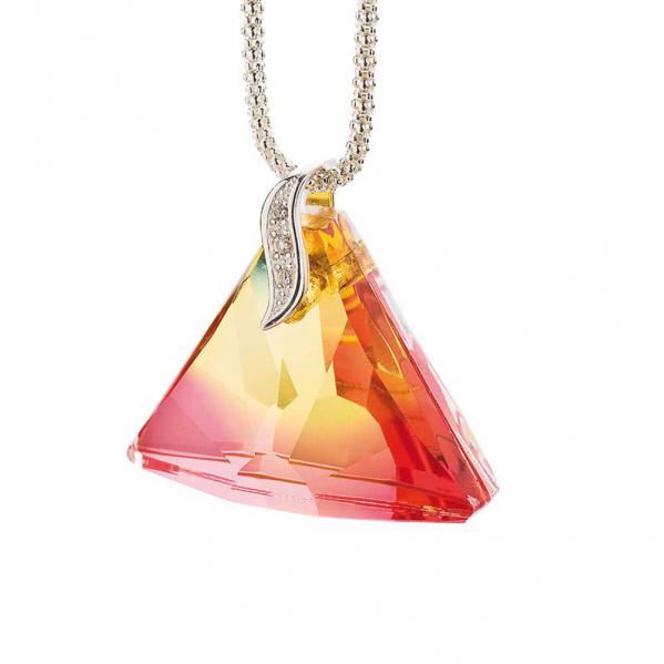 Preciosa Crystal Reddish Yellow Charming Triangle Pendant