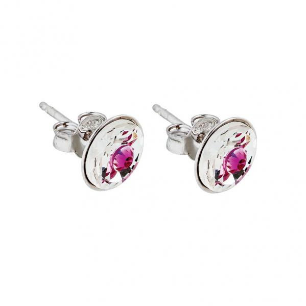Preciosa Fuchsia Crystal Stud Earrings, Sparkling Shine