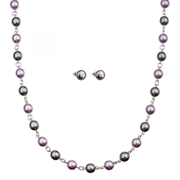 Preciosa Grey/Purple Pearl Necklace and Earring Set