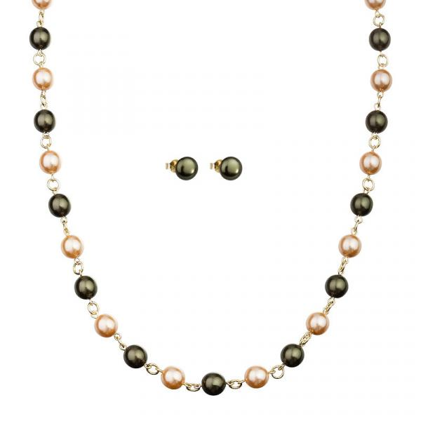 Preciosa Dark Olive Green Pearl Necklace and Earring Set