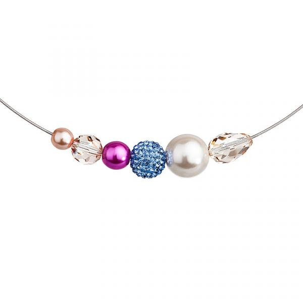Preciosa Mixed  Pearl Crystal Bead Necklace, Blue-Fuchsia
