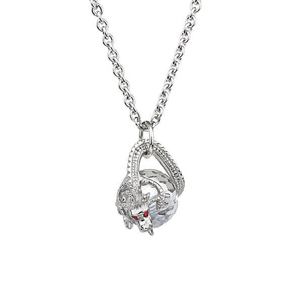 Preciosa Silver Dragon Surrounds Crystal Bead Pendant Necklace